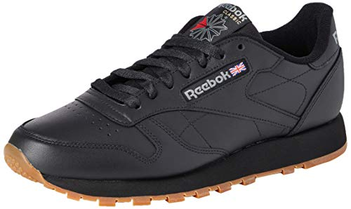 Reebok Herren Classic Leather Low-Top, Schwarz (Black/Gum), 40 EU