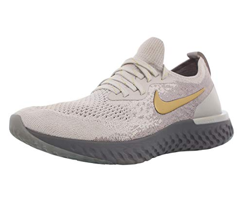 Nike Women's Epic React Flyknit Running Shoes (8.5, Grey/Gold)