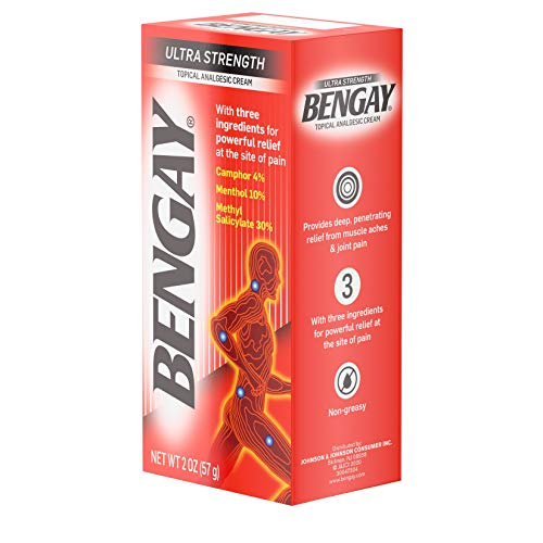Ultra Strength Bengay Topical Pain Relief Cream, Non-Greasy Topical Analgesic for Minor Arthritis, Muscle, Joint, and Back Pain, Camphor, Menthol & Methyl Salicylate, 2 oz Packaging may vary