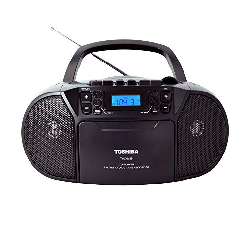 Toshiba TY-CKM39(K) Portable MP3 CD Cassette Boombox with Am/FM Stereo and Aux Input Black