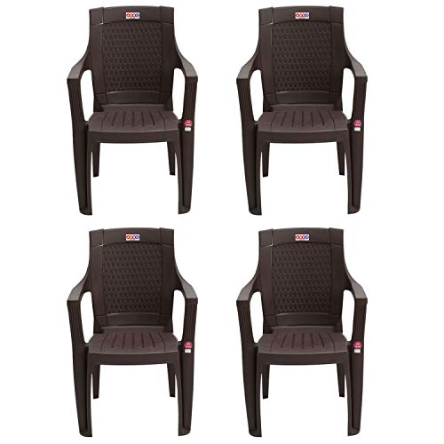 AVRO FURNITURE 7756 Plastic Chair | Set of 4 | Matt and Gloss Pattern | for Dining Room, Bedroom, Kitchen, Living Room | Bearing...