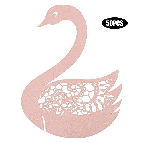 OUDIYE 50pcs Weihnachtsdekorationen für Home Swan Wedding Hollow Name Place Karten für Wein Glastisch Dekoration Garlands Hochzeit