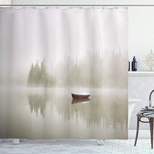 """Ambesonne Landscape Shower Curtain, Boat on The Lake with Silhouettes of Trees on The Water Sky Nature Art, Cloth Fabric Bathroom Decor Set with Hooks, 75"""" Long, Eggshell Brown"""