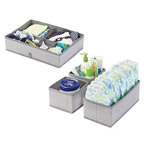 mDesign förvaringslådor för lådor och skåp – tyglådor med fack – förvaringslådor för garderobsinredning och lådavdelning – fiskbensmönster – 2-pack – grå