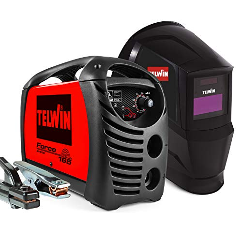 Telwin 815863 Force 165 Saldatrice Inverter ad Elettrodo con Maschera Automatica Tribe e Accessori di Saldatura, 230 V, 4,23 kg, Rosso, Force 165 con maschera e accessori