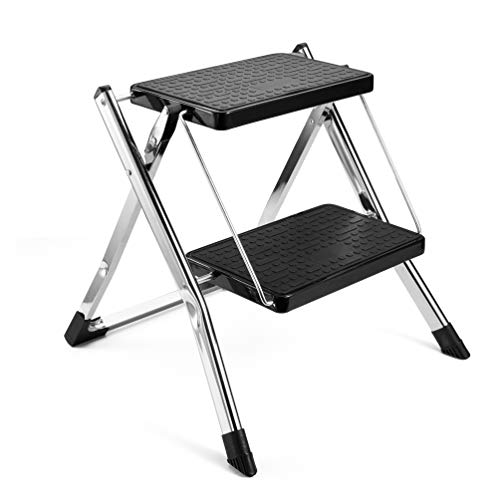 Delxo 2 Step Stool Stepladders Lightweight White Folding Step Ladder with Handgrip Anti-Slip Sturdy and Wide Pedal Steel Ladder Mini-Stool 250lbs 2-Feet (2 Step Stool-Gray)