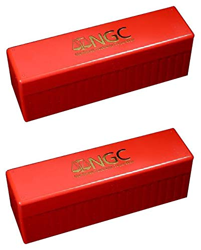 NGC Plastic Storage Box for 20 Slab Coin Holders Red 2 Pack