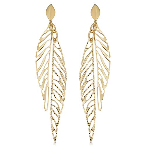 Kooljewelry 14k Yellow Gold Diamond-cut Leaf Dangle Earrings