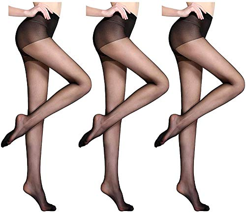 Heyzen 3 Pairs Universal Stretch Anti-Scratch Stockings,Ultra Thin Invisible Sexy Pantyhose,Women's High Waist Tights Ultra Sheer Pantyhose (Black)
