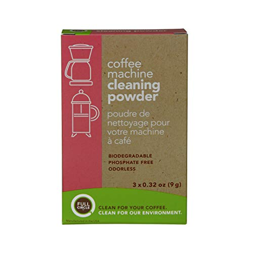 Full Circle Coffee Machine Cleaner - Cleaning Powder - 3 Single Use Packets - Safe on Keurig Delonghi Nespresso Ninja Hamilton Beach Mr Coffee Braun