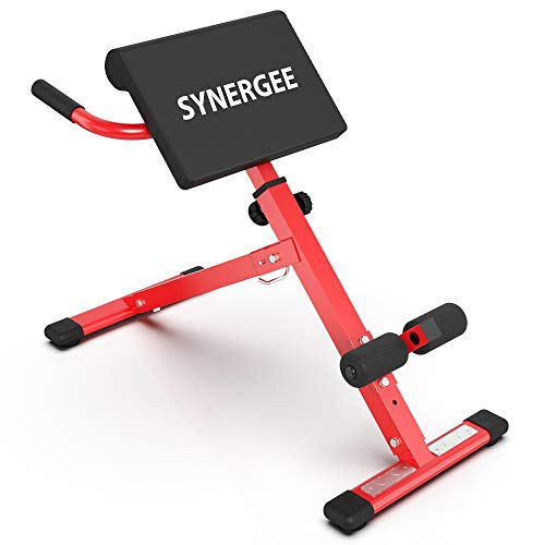 Synergee Roman Chair. Red Coated Steel Hyperextension Machine. GHD Ab Bench for Lower Back Workout, Hyper Exercises.