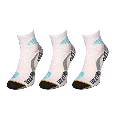 Comodo - Laufsocken Herren & Damen rutschfest|3 Paar Thermo Sneakers kurz Outdoor Socken für langes Laufen/Joggen & Crossfit|Unisex Sportsocken RUN1 gr 39-42 weiß/türkis