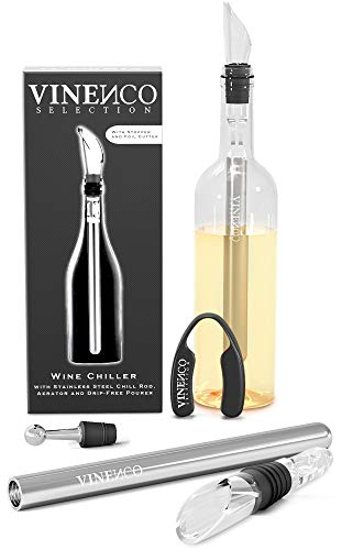 VINENCO Wine Chiller Set + Foil Cutter, Stopper, Storage Pouch & Ebook - Premium 3-in-1 Stainless Steel Bottle Cooler Stick, Decanting Aerator & Drip-Free Pourer