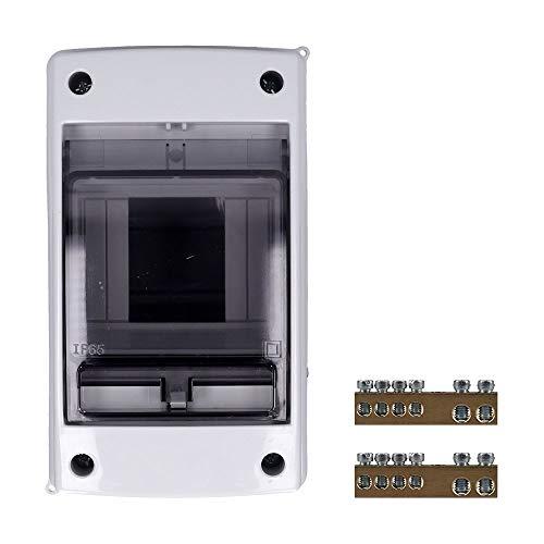 Aufputz Feuchtraum Verteiler 1 -reihig IP65 2-4 Module - Verteilerkasten Kleinverteiler Sicherungskasten, Tür transparent