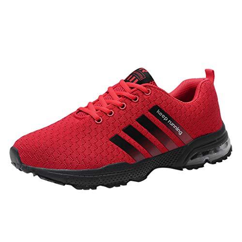 Skxinn Unisex Sneakers Fitnessschuhe Leicht Schnürschuhe Atmungsaktive Casual Herren Mode Turnschuhe Sportliche Basketball-Laufschuhe Wanderschuhe für Damen Gr 35-47(Rot-1,44 EU)