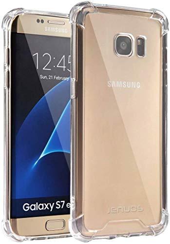 Jenuos Cover Samsung Galaxy S7 Edge, Custodia Trasparente Antiurto Paraurti Silicone Trasparente Cover TPU Bumper + Hard PC Indietro per Samsung Galaxy S7 Edge 5.5