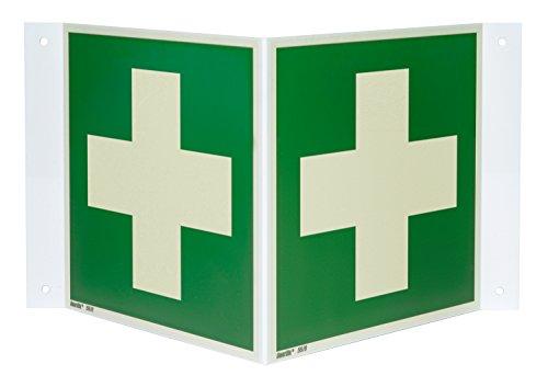 Erste Hilfe Nasenschild/Winkelschild, Hart-PVC langnachleuchtend, 200 x 200 mm gemäß ASR A1.3 / ISO 7010 E003, Rettungszeichen Schild, 20 x 20 cm