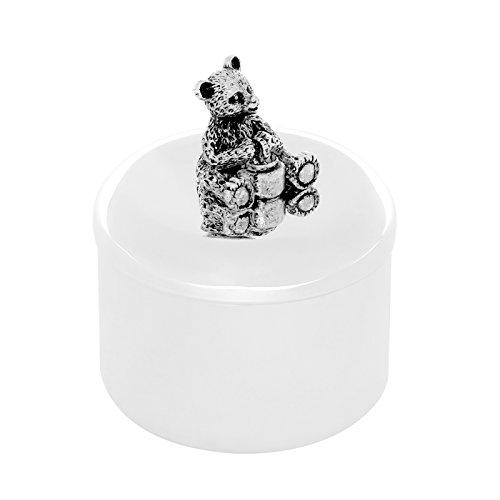 Brillibrum Design Milchzahndose aus Metall versilbert anlaufgeschützt Schatulle-Silber mit Bärchen