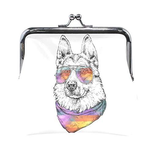 Pastor perro con gafas de sol aviador monedero retro bolsa de dinero...