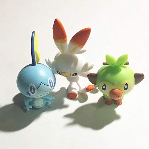 JINGMAI 3 Piezas Pokemones Espada Y Escudo Gosanke Grookey Sobble Scorbunny Figura De Acción Juguete De Dedo Regalos De Cumpleaños para Niños 4Cm
