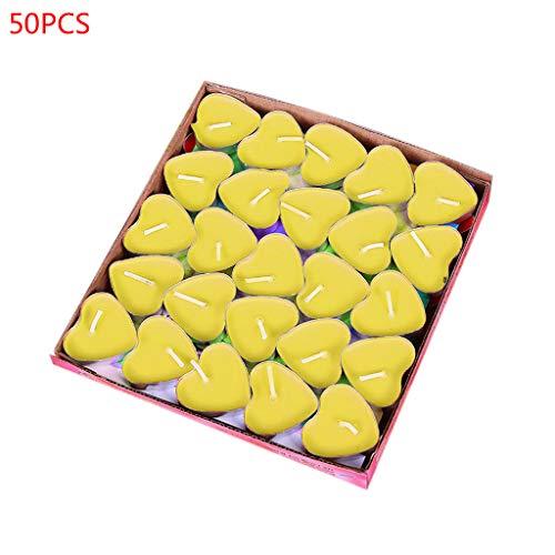 Eliky - Juego de 50 velas de té, diseño de corazón amarillo