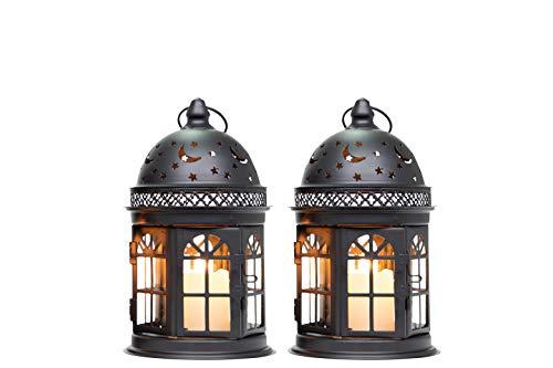 JHYDESIGN2つ個セットキャンドルホルダー21cmランタンライト复古スタイル用ランタンガーデンテラスベランダ屋外屋内照明ランタンスタンドコーヒーショップテーブルホーム飾(ブラック)