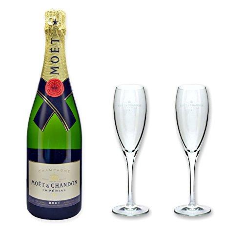 Moët & Chandon Champagner Brut Imperial 0,75l im Set mit 2 original Moët Gläser 0,1l