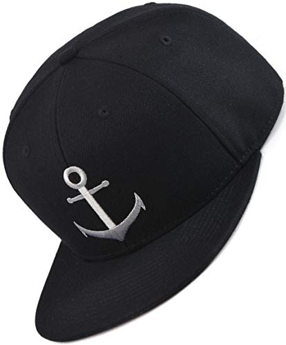Bexxwell Snapback Cap schwarz mit Anker (optimale Passform, Kappe, Black, Anchor, Unisex)
