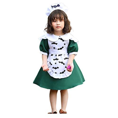 PRETYZOOM Disfraz de Mucama Linda Chica Lolita Cosplay Disfraz Disfraces de Halloween Chica Vestido Elegante Delantal con Sombreros