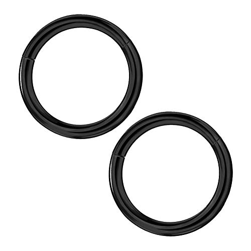 Afftiny 2 Pieces 12G Earrings Hoop 16MM Large Black Titanium Surgical Stainless Steel Septum Ring for Women 12 Gauge Solid Round Seamless Hinged Cartilage Piercing Jewelry