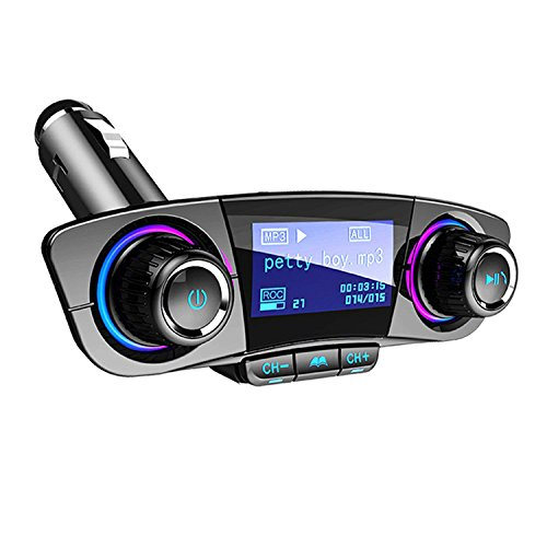 FMトランスミッター ブルートゥース 車載用 Bluetoothレシーバー 音楽 ハンズフリー通話 無線 USB充電ポート iPhone、サムスン、などのハンズフリー通話、AUX、TFカード、Uディスク再生