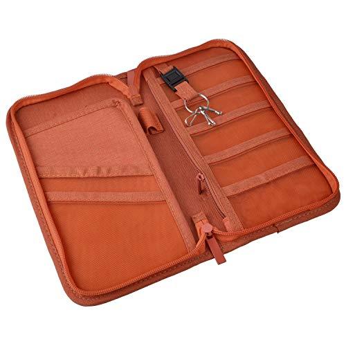 NOTAG パスポートケース ホルダー カバー トラベルウォレット スキミング防止 トラベル オーガナイザー パスポートカバー 多機能収納ポケット 航空券対応 海外旅行用品 旅券 チケット 名刺 軽量 大容量 男女兼用 (オレンジ)