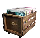 Retro Musique Wooden Vinyl LP Record Storage Crate on Wheels for Easy Mobility | Holds 80-100 LP's