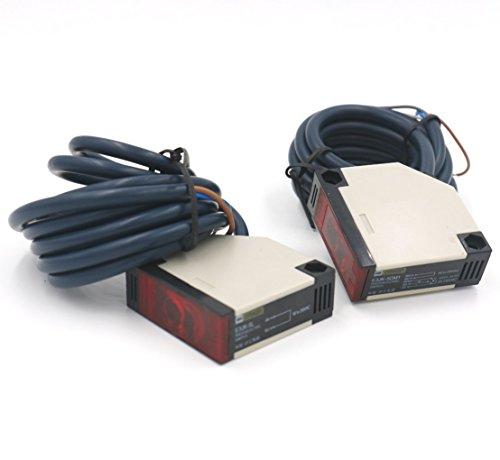 Woljay Interruptor de sensor fotoeléctrico E3JK-5DM1 E3JK-5L 12-24VDC Distancia de detección 5 m Par