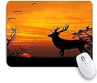 ECOMAOMI 可愛いマウスパッド 鹿狩りの時間日没消える地平線森の中のフライングイーグル 滑り止めゴムバッキングマウスパッドノートブックコンピュータマウスマット