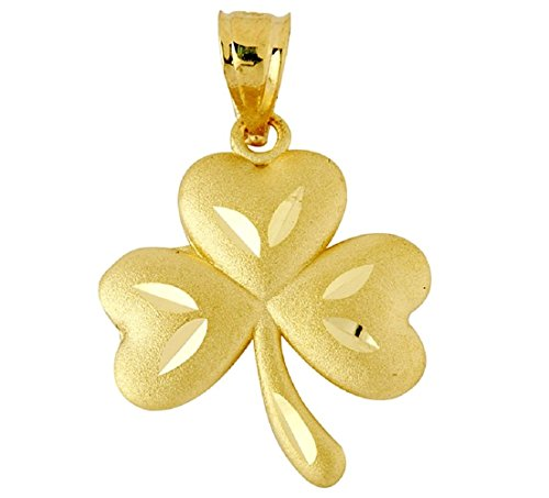 14k Yellow Gold Celtic Clover Good Luck Charm