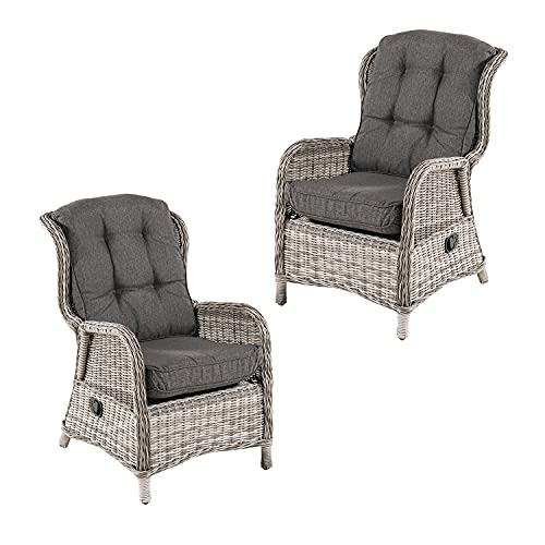 Pack 2 sillones reclinables para jardín, Aluminio y rattán sintético Redondo, Gris, Tamaño:64x80x105 cm