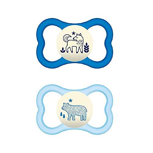 MAM S240 Chupete Air Night 6+ Silicona Para Bebé, Azul 6+ Meses