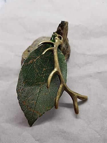 echte Blatt Kette Anhänger Damen handmade grün gold handgemacht Geweih