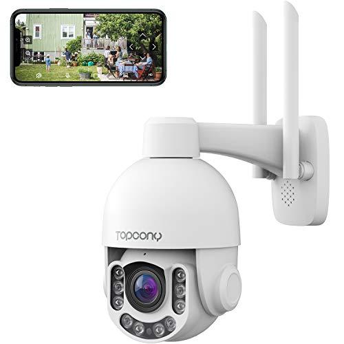 Topcony Caméra Surveillance WiFi 1920P, 5MP PTZ Caméra IP Extérieur, 4X Zoom Optique et Autofocus, Détection de Mouvement, Supporte Onvif 2.4, Audio Bidirectionnel, Vision Nocturne et Étanche IP66