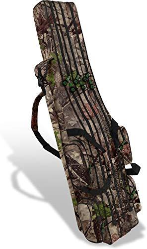 normani XXL Angel Tasche Futteral 190cm oder 210cm Rutentasche Anglerrucksack - 8 Taschen für 6 Ruten und Kescher Farbe Hunting Camo Größe 210 cm