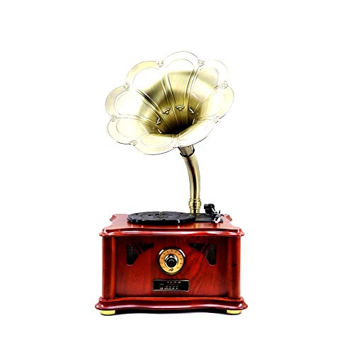 Best Price FeliciaJuan-hm Bluetooth Retro Phonograph Horn Turntable Bluetooth Turntable Record Machi...