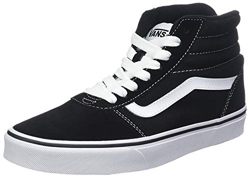 Vans Ward Hi, Sneaker Hombre, Negro (Suede/Canvas) Black/White C4R, 43 EU