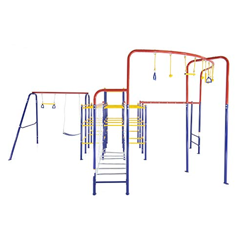 ActivPlay Modular Jungle Gym with Swing Set, Monkey Bars, Hanging Bridge, and Hanging Jungle Line Kit, red, Blue, Yellow (APJGC5)