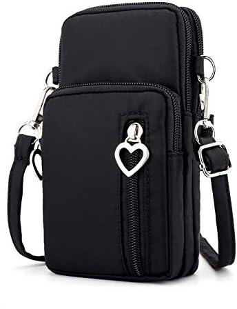 Zipper Water Resistant Oxford Crossbody Shoulder Bag Cellphone Pouch Purse Wrist Case for Motorola Moto G7 Plus / G7 Play/Samsung Galaxy S10 / S10e / S10 Plus/LG G8 ThinQ / V50 ThinQ (Black)