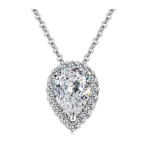 Gota de agua llena de diamante, cadena serpiente con corazón, collar para mujeres y chicas, regalo de plata, joyas para mujeres, niñas, regalo de cumpleaños