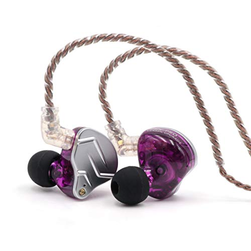 Linsoul KZ ZSN Pro Dual Driver 1BA+1DD Hybrid Metal Earphones HiFi In-Ear Monitor with Detachable 2Pin Cable, Zin Alloy Panel (Without Mic, Purple)
