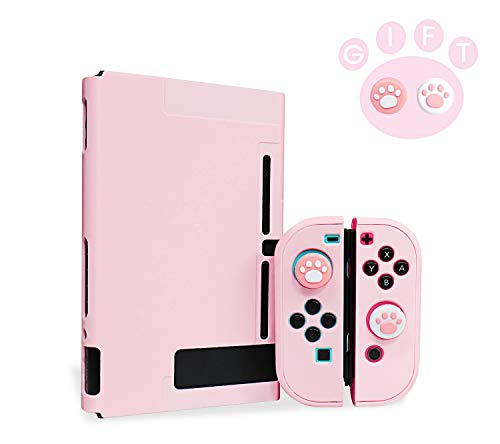 Niclogi Dockable Case for Nintendo Switch, Protective Cover Case Compatible with Nintendo Switch Console and Joy-Con Controller, Separable Hard Cover Case with 2 Thumb Grip Caps(Pink)
