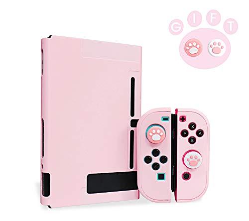 Niclogi Dockable Schutzhülle für Nintendo Switch, Schutzhülle kompatibel mit Nintendo Switch Konsole und Joy-Con Controller, trennbare Hartschale mit 2 Daumengriffkappen (Pink)
