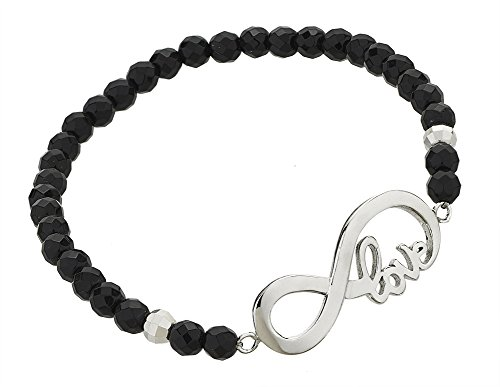 925 Sterling Silver Black Onyx Gemstone Beads Sideways Infinity Symbol Love Message Stretch Bracelet